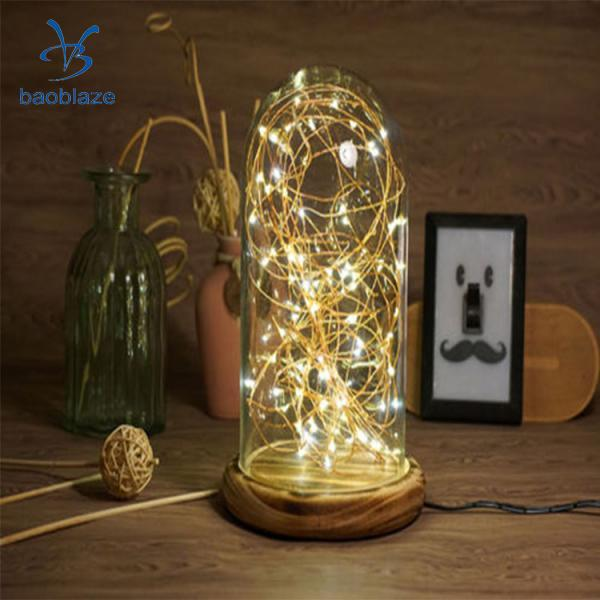 LED Firework Glass Gift Wood Base Touch Switch Table Desk Light Lamp Home Bedroom Decor Fashion Accessories Cover