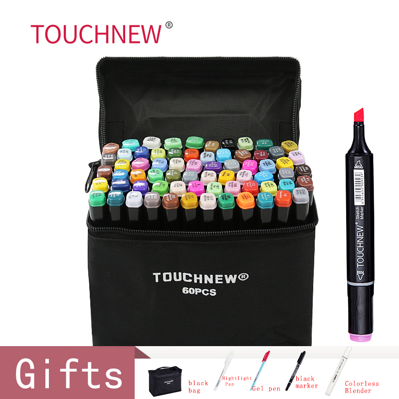 TOUCHNEW 30/40/60/80 Colors Art Markers Alcohol Based Markers Drawing Pen Set Manga Dual Headed  Art Sketch Marker Design PensArt Markers   -