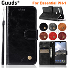 GUUDS for Essential PH-1 Holster case Cover Luxury Retro Leather Wallet Case for Essential PH-1 PH1 Andy Rubin Phone 1