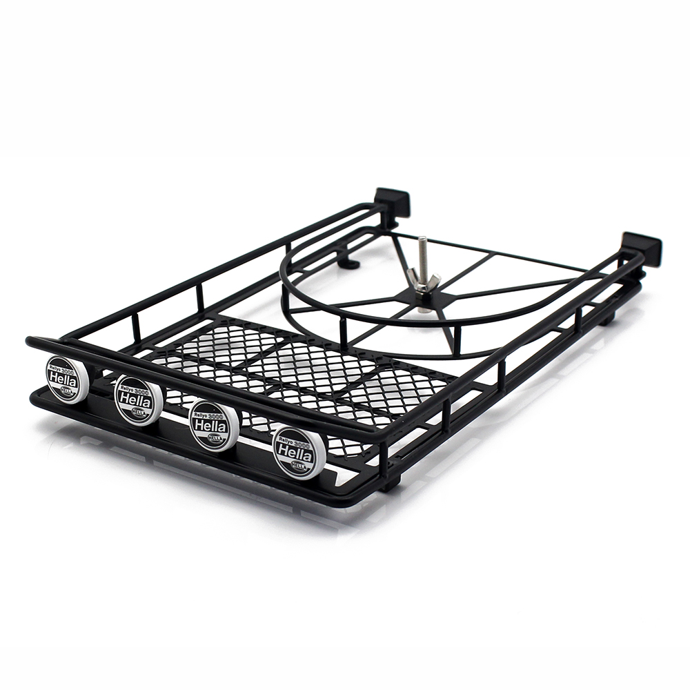 INJORA Metal Roof Rack with LED Lights for 1:10 RC Rock Crawler AXial SCX10 & SCX10 II 90046 D90 injora roof rack luggage carrier with light bar for 1 10 rc crawler d90 axial scx10 90046