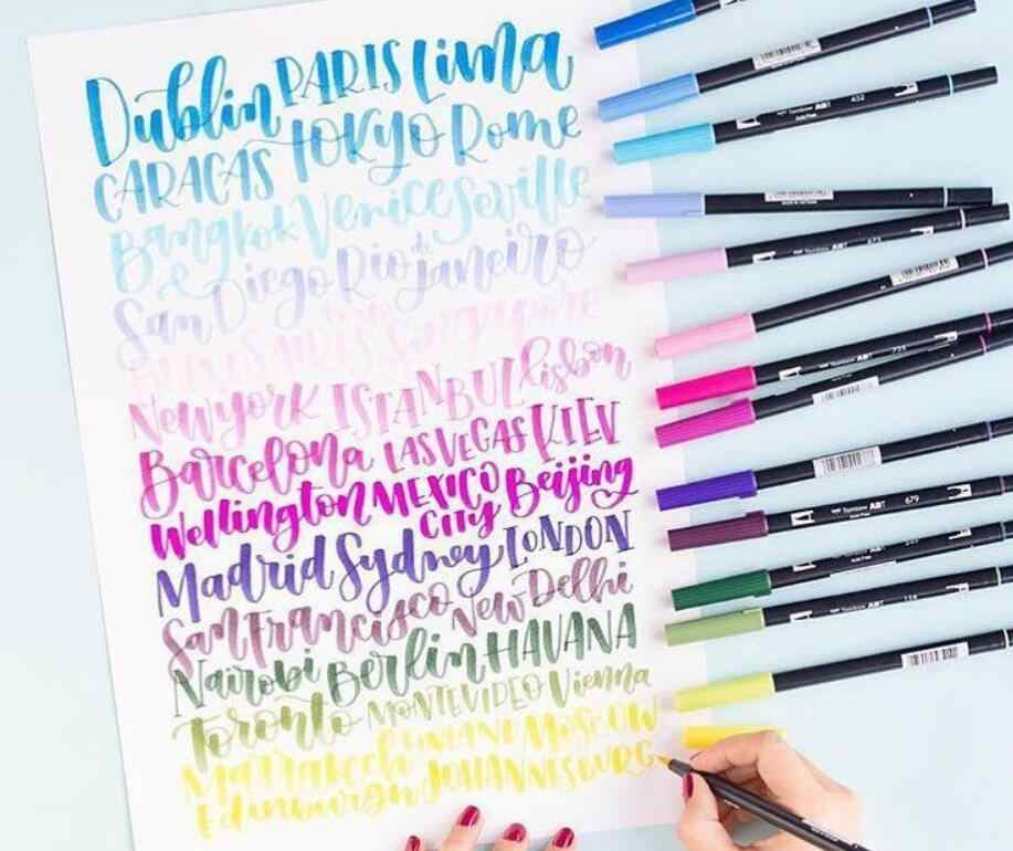 TOMBOW AB-T Kunst Pinsel Stift Japanischen kalligraphie stift 96 Farben Doppel Köpfe Beruf Wasser Marker Stift für Malerei