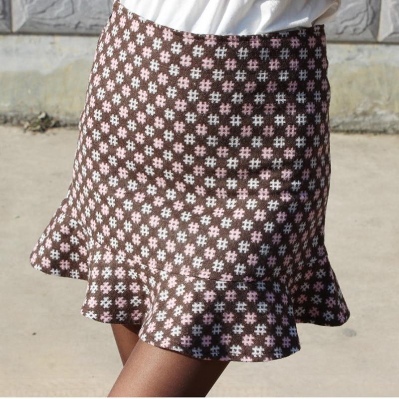 2018 Spring Autumn And Winter Wool Skirts Ruffle Skirt Bag Hip Skirt Step Plus Size XXXXL Women Clothing 7249