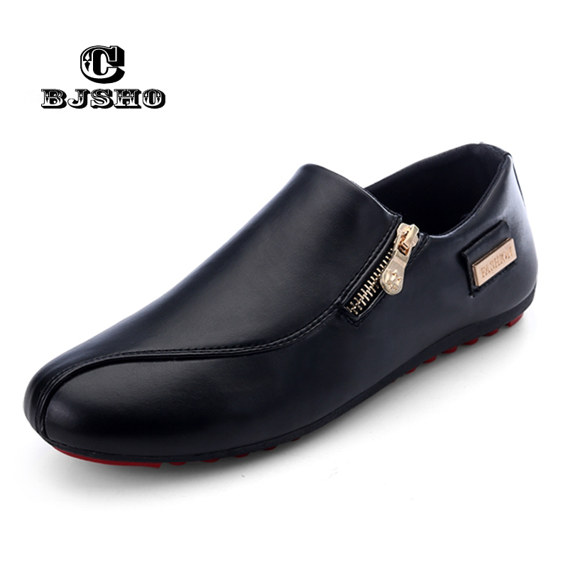 CBJSHO Spring Men's Shoes Casual Moccasins Men Loafers Shoes Luxury Brand Breathable Chaussure Homme Flat PU Leather Shoes Male