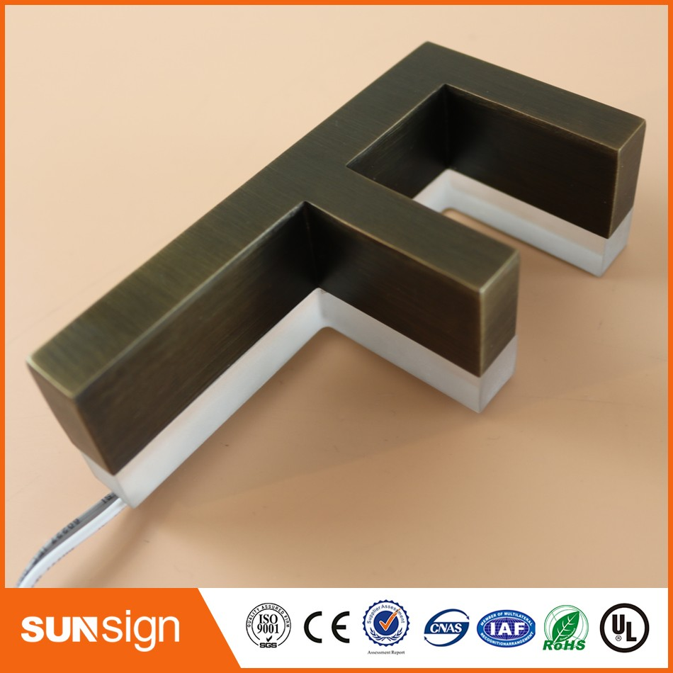 H20cm One Letter Backlit Stainless Steel Shop Front Signs LED 3D Illuminated Letters Signs For Advertising
