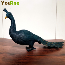 Chinese traditional craft bronze brass lucky peacock phoenix statue sculpture indoor desktop decoration
