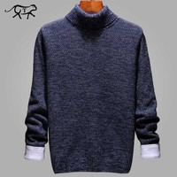 New Brand Sweater Men Winter Casual Solid Simple Slim Fit Male High Neck Sweater Male Outerwear Knitted Man Pullovers Sweaters