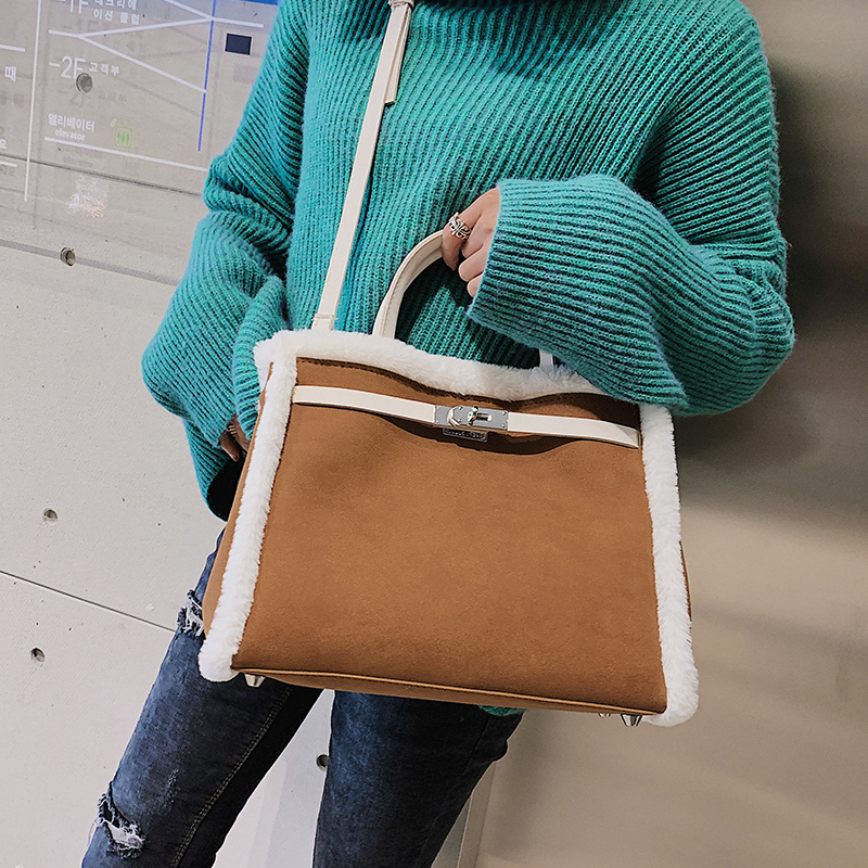 Korean handbag large capacity bucket hand bag designer big tote designer Fur women messengerc winter shopping wool no lock 78