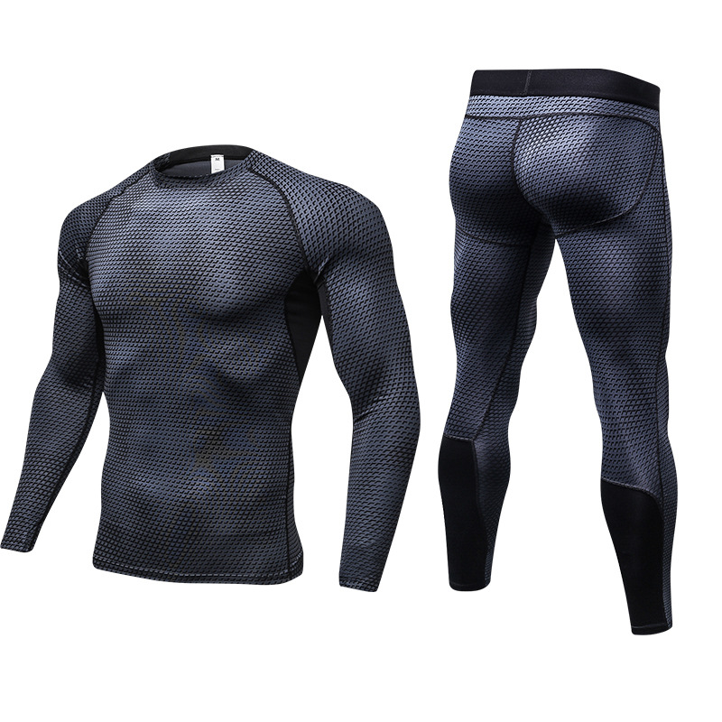 Mens Solid Color Sports Leggings Fitness Long Sleeved Running T-shirts 2 Piece Set Compression Tights Workout Tracksuit Suits