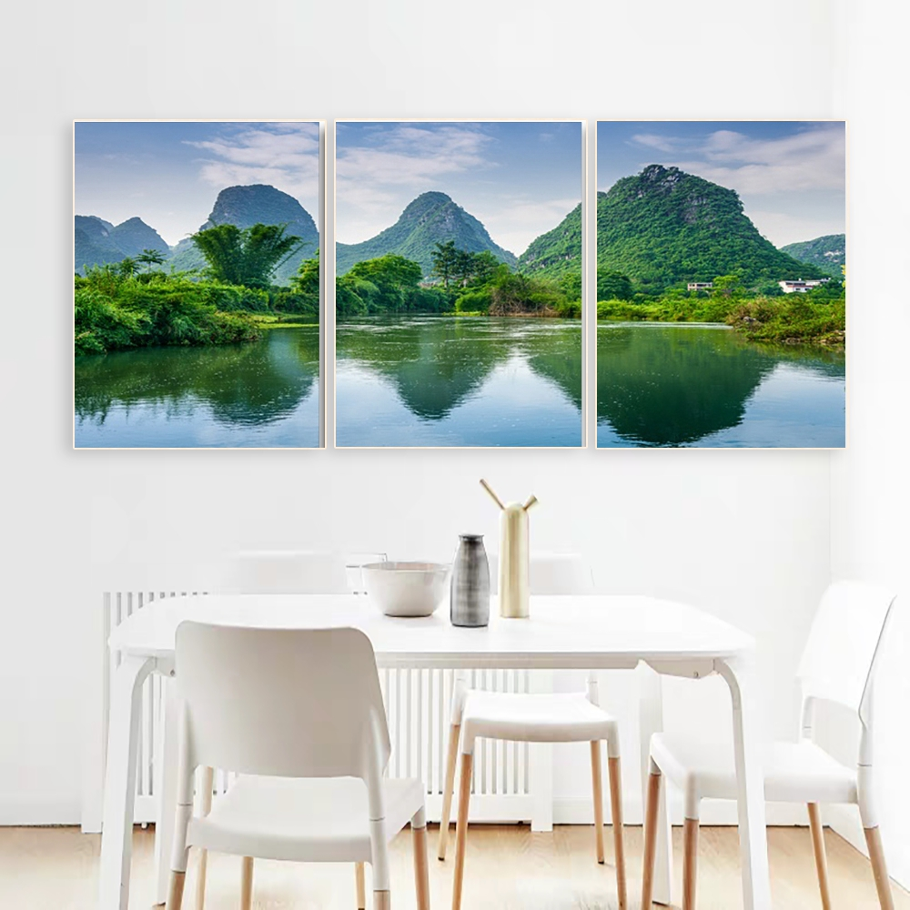 Laeacco Canvas Calligraphy Painting 3 Panel Green Mountain Wall Artwork Natural Posters and Prints Study Home Living Room Decor in Painting Calligraphy from Home Garden