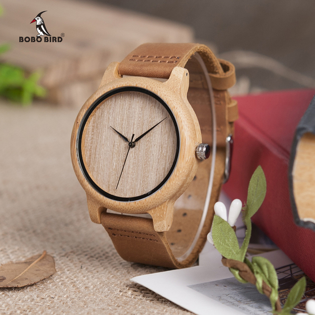 DROP SHIPPING BOBO BIRD Timepieces Bamboo Wooden Watches for Men and Women With Leather Strap relogio masculino C-A19