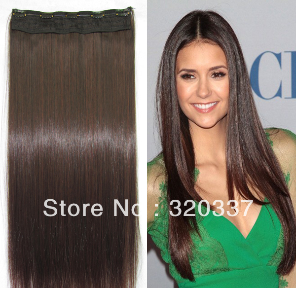 24 100g Straight Long Dark Brown Clip In Hair Extensions Synthetic