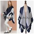 2016 Nova Marca de Luxo Mulheres Lenço do Inverno Cobertor Poncho Capes Oversize Listrado Engrosse Cachecóis Xales Wraps