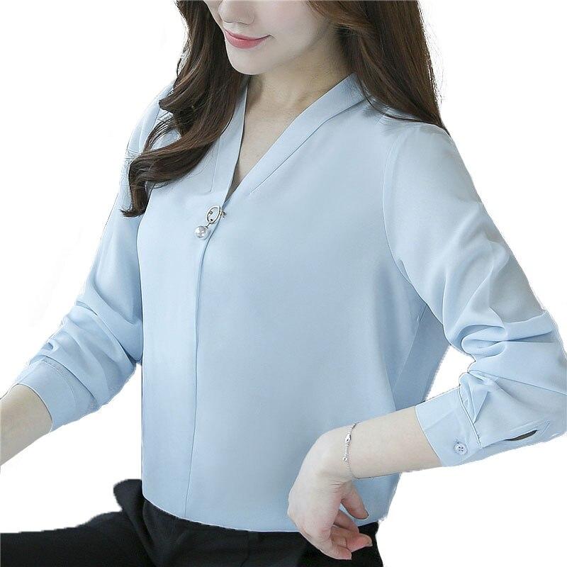De Azul Invierno Top Tee Mujeres Cielo Las Blusa V Otoño Caliente Blusas Bajo blanco Perla 2019 Gasa En Kimono Cuello E rosado Camisa Volocean WHqIRzU