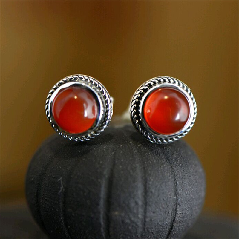 Genuine 925 Sterling Silver Natural Red Carnelian Earrings Crystal Round Stud Onyx For Womens Clic High Quality In From Jewelry