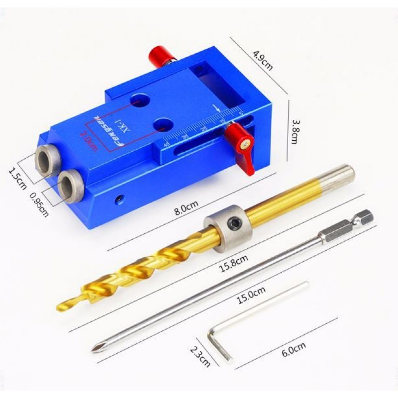 Woodworking Tool Pocket Hole Jig Kit For Wood Working & Joinery + Step Drill Bit & Accessories Woodworking Punch Locator