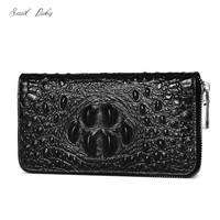 The new leather crocodile lines men long zipper wallet classic business lady hand bag lovers hand bag