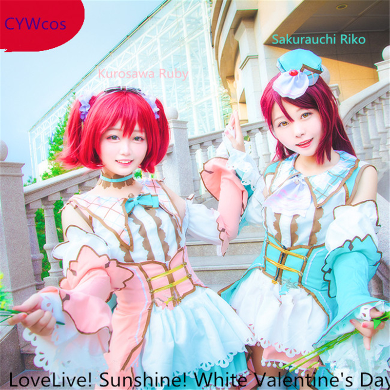 LoveLive Sunshine White Valentine's Day Event Card Sakurauchi Riko Kurosawa Ruby Cosplay Costume Christmas Party Dress for Women