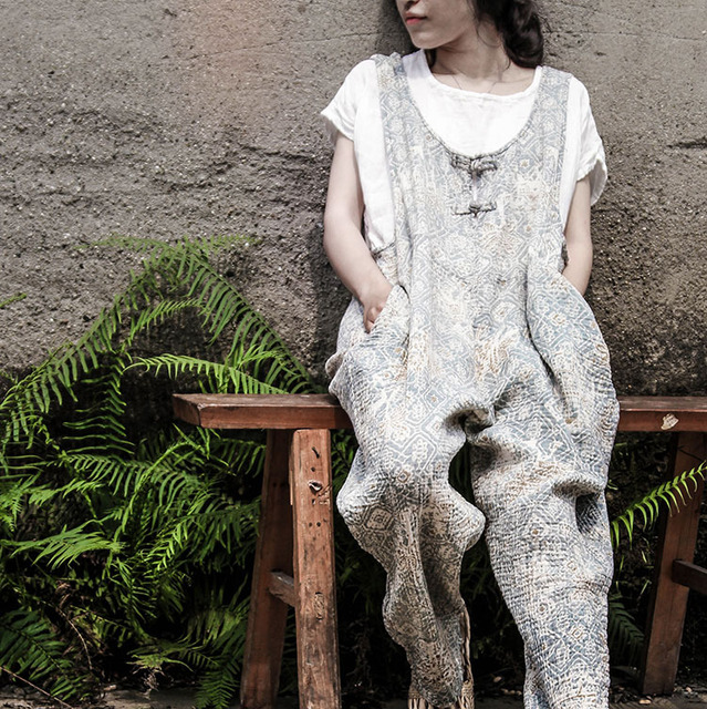 2017 Summer Floral Bodysuit Original Harem Jumpsuit Women Loose Cotton Body Dentelle Retro Vintage Comfortable Plus Size Rompers