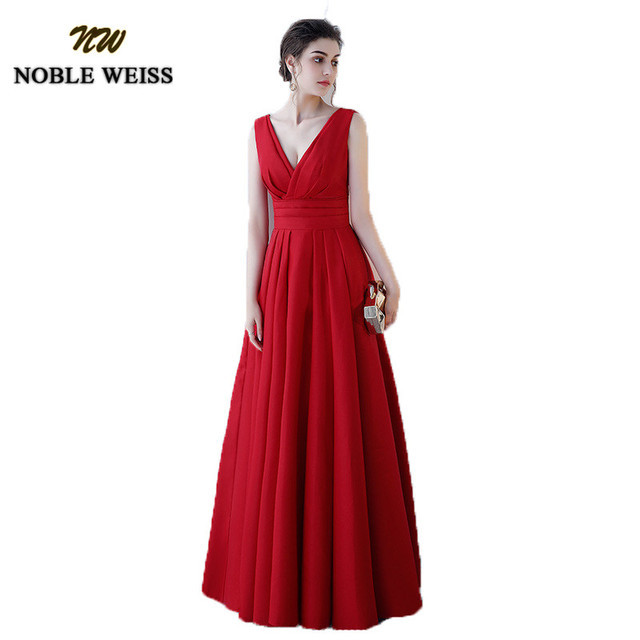 NOBLE WEISS Elegant Satin Red Prom Dresses Long Floor Length Special Occasion Gowns With Sexy V neck Girls vestido de festa