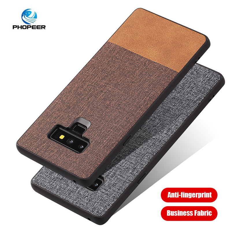 PHOPEER case for Samsung Galaxy Note 9 case cover Galaxy Note9 Soft TPU edge shockproof business fabric back cover in Fitted Cases from Cellphones Telecommunications