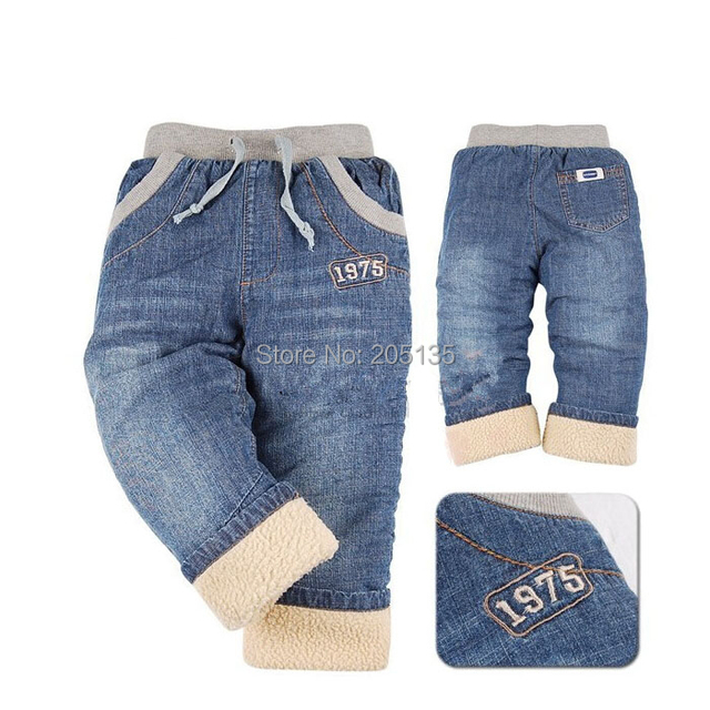2016 Marca Crianças calças de inverno do bebê meninos calças de Brim grosso cashmere quente calças de brim Calças de brim crianças crianças de varejo de alta qualidade