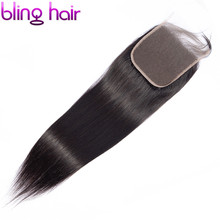 Bling Hair 6x6 Lace Closure Brazilian Straight Closure With Baby Hair