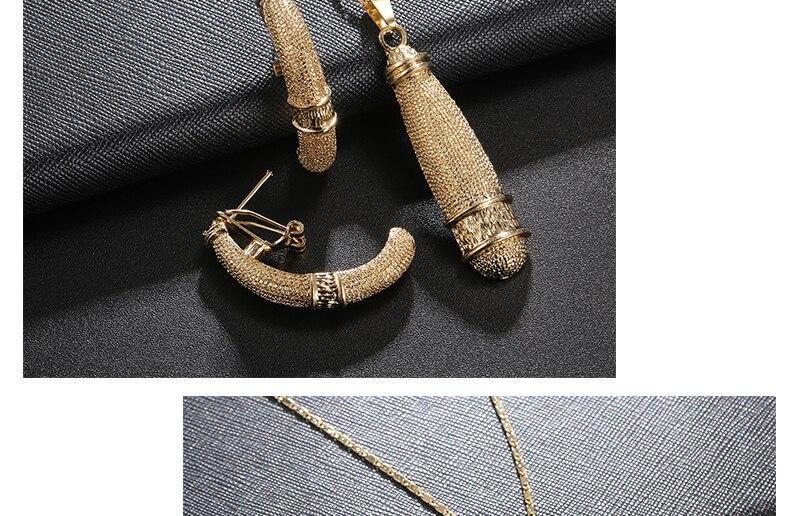 AYAYOO African Beads Jewelry Set 2018 Nigerian Wedding Women Jewelry Set Dubai Gold Color Vintage Bridal Necklace Set (4)