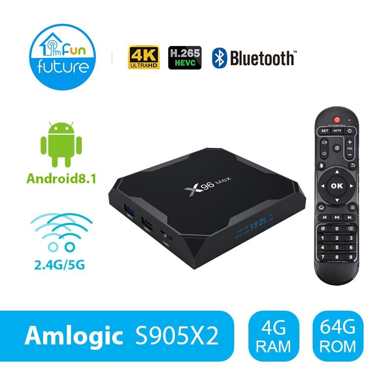 X96 Max Android 8.1 Amlogic S905X2 LPDDR4GB 64 GB Quad Core TV BOX 2,4G 5G Wifi BT 1000 M h.265 4K60fps Smart TV box X96Max