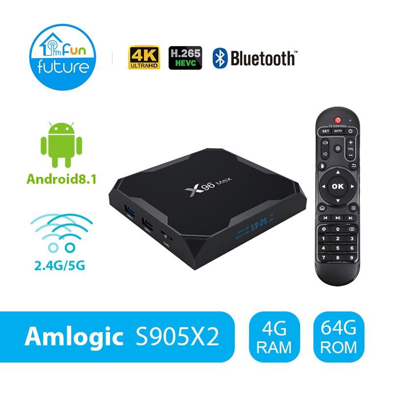 X96 Max Android 8.1 Amlogic S905X2 LPDDR4GB 64GB Quad Core TV BOX 2.4G 5G Wifi BT 1000M H.265 4K60fps Smart TV box X96MaxX96 Max Android 8.1 Amlogic S905X2 LPDDR4GB 64GB Quad Core TV BOX 2.4G 5G Wifi BT 1000M H.265 4K60fps Smart TV box X96Max