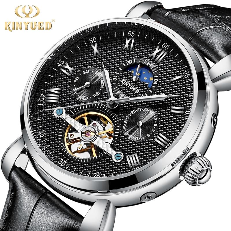 KINYUED Top Brand Mechanical Automatic Mens Watches Auto Calendar Moon Phase Skeleton Tourbillon Watch Men relojes hombre 2018 все цены