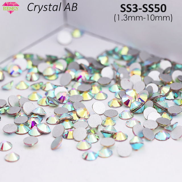 RESEN Wholesale SS3-SS50 Glass Non Hotfix Flatback Stone Crystal AB 3D Nail  Art Crystal AB Color Strass Flatback Rhinestone 0047d32261c4