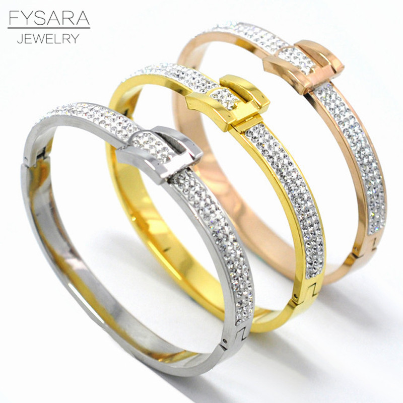 Charming Design Fashion Jewelry For Women Full Crystal Bangle Bracelets Belt Buckle Bangle White Rhinestone U Bangle Wedding