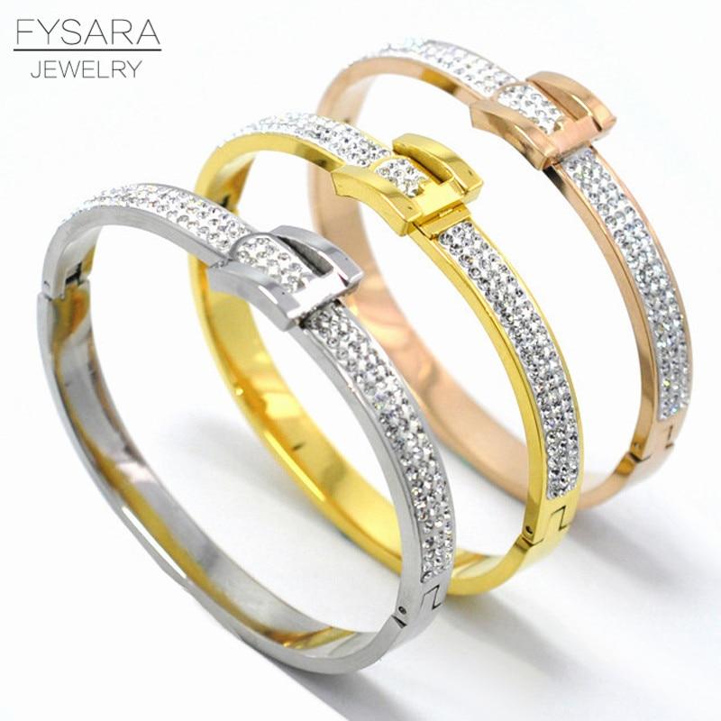 Charming Design Fashion Jewelry For Women Full Crystal Bangle Bracelets Belt Buckle Bangle White Rhinestone U Bangle Wedding