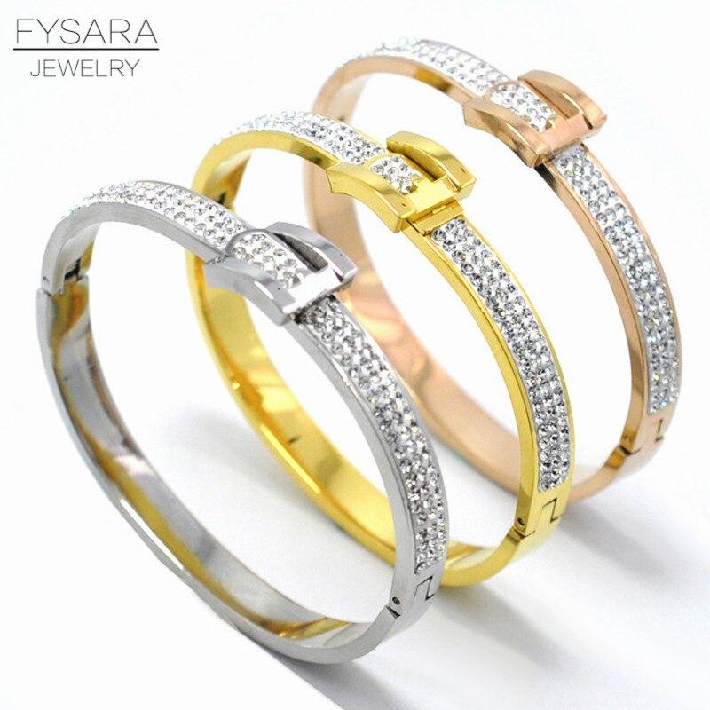 Charming Design Modeschmuck Für Frauen Voll Crystal Bangle Armbänder Gürtelschnalle Armband Weißen Strass U Armreif Hochzeit