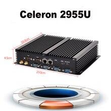 Заводская цена мини-компьютер без вентилятора мини pc ubuntu celeron 2955u 2 * lan 6 * rs232 2 * hdmi промышленный pc прочный pc металлический корпус черный
