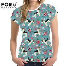 FORUDESIGNS Funny Fox Terrier Flower Printed T Shirt Women Cute Puppy T-shirt Female Floar Pattern Tee for Teen Girls Tops