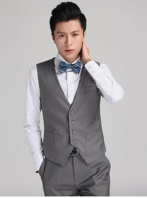 Hand Some Slim Fit Grey Groom Vests Groomsmens/Best Man Vest Custom Made Formal Vest Wedding/Prom/Dinner Waistcoat