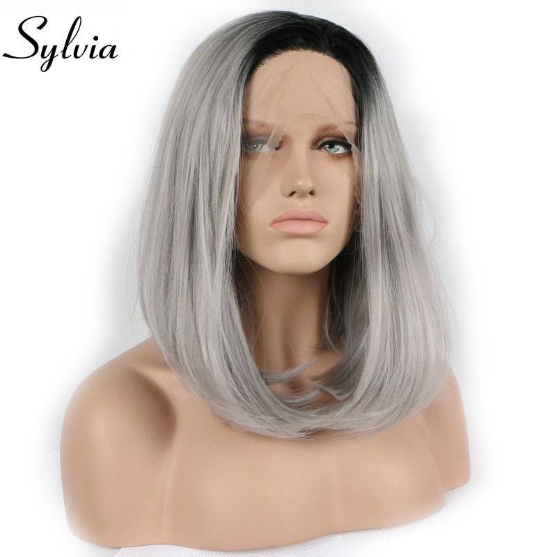 Sylvia Heat Resistant Fiber With Dark Roots Black To Grey Ombre Synthetic Lace Front Wig Short Bob Wigs for women