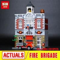 City Street Creator Fire Brigade Lepin 15004 Model Doll House Building Kits Minifigure Blocks Compatible