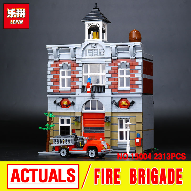 Lepin 15004 City  Fire Brigade Model Doll House Building Kits  Assembing Blocks Compatible With 10197 Educational Gift Funny Toy new lepin 15010 expert city street parisian restaurant model building kits blocks funny children toys compatible with 10243 gift