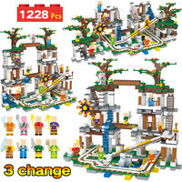 1228Pcs My World Bricks Compatible Legoingly Minecrafted The Mine Cave Mine Slide Figures Building Blocks Toys For Children