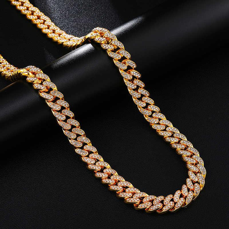 13MM AAA סלול Rhinestones CZ מיאמי לרסן קובני שרשרת שרשרת זהב אייס מתוך בלינג שרשראות גברים היפ הופ ראפר תכשיטים