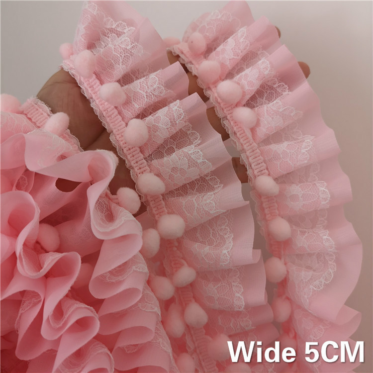 5CM Wide 3D Pompom Lace Fabric Pleated Chiffon Guipure Embroidered Ribbon Ruffle Trim Dresses Curtains Clothes DIY Sewing Decor