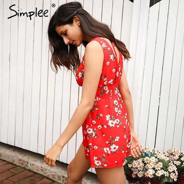 Simplee floral print red jumpsuit romper Women sexy playsuits chiffon leotard Boho summer beach lining overalls
