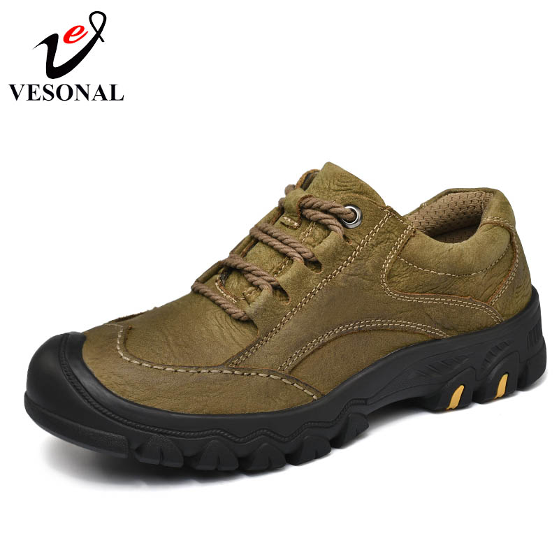 VESONAL 2018 New Casual Work Male Shoes For Men Footwear Adult Genuine Leather Classic Cargo High