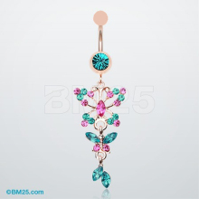 1pcs Colorful Crystal Dangle Floral Stainless Steel Barbell Belly Button Navel Ring Bar navel piercing jewelry
