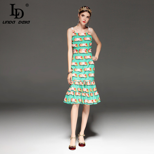 Spaghetti Strap Backless Sexy Mermaid Casual Print Dress