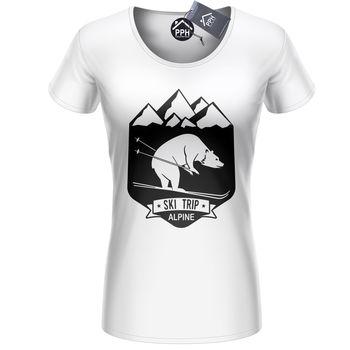 Bear Ski Trip Skiing T Shirt Mens Womens Ski Layer Snowboard Tshirt Skiing 498 1