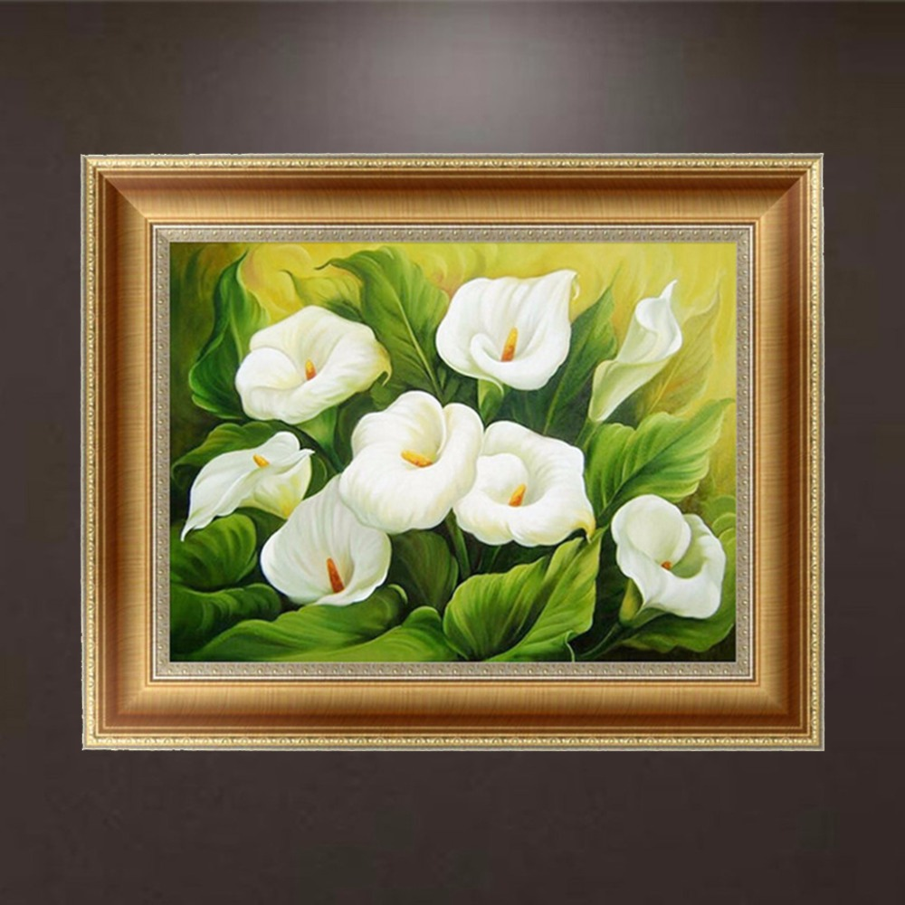 Aliexpress Buy 5d Diamond Embroidery White Calla Lily Flower Painting Cross Stitch Diy Art Craft Home Decor Wall Picture C42 From Reliable