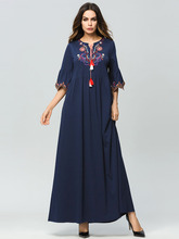 Vintage Flowers Embroidery Women Summer Long Dress Short Sleeve Pleated Boho Maxi Navy Blue Robe Female Vestidos